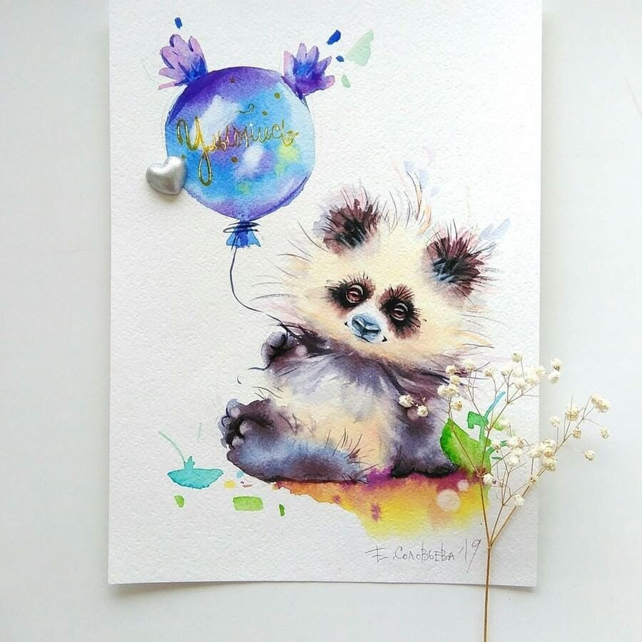 11-Panda-Evgeniya-Solovyova-Fantasy-Animals-Watercolor-Paintings-www-designstack-co