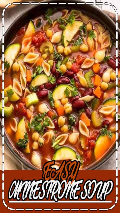 Homemade Minestrone Soup – the perfect easy comforting meal on a chilly day. Best of all, this classic stove-top recipe is hearty & full of fresh vegetables like carrots, zucchini, celery, tomatoes and beans. A delicious vegan recipe & simple to customize with gluten free and low carb options. #soup #minestrone #glutenfree #lowcarb #vegan #minestronesoup #easy #stovetop #recipe