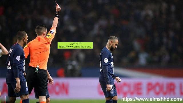 نيمار يحصل على بطاقة حمراء وباريس سان جيرمان يفوز برباعية على بوردو
