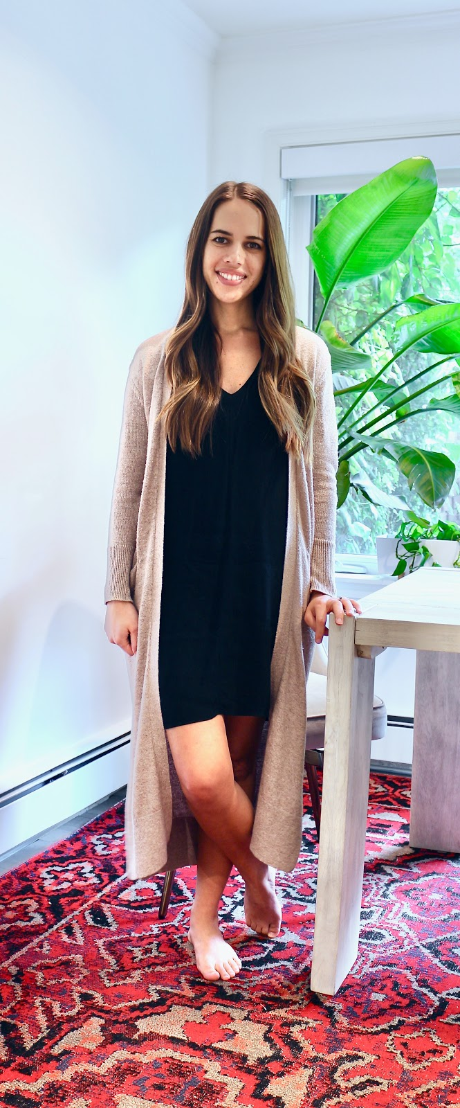 Jules in Flats - Long Duster Cardigan with V-Neck Shift Dress (Easy Work from Home Outfit)