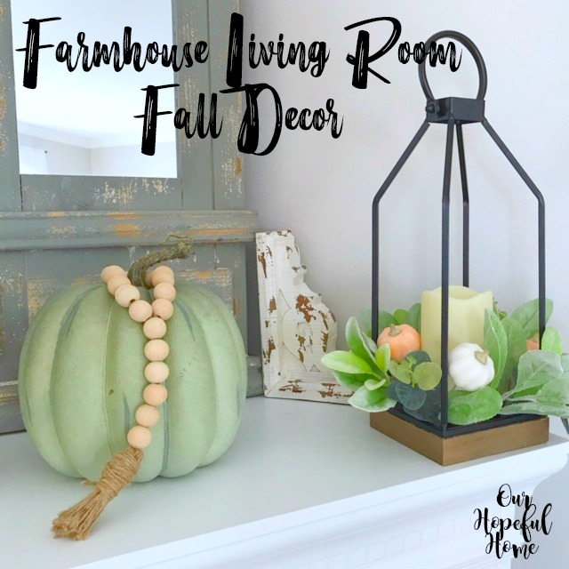 blue faux pumpkin farmhouse beads chippy corbel fall lantern