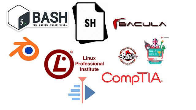 Cursos de Bash, Shell Script, Pentest, edição de vídeo, animação, backup, inglês e LPI.