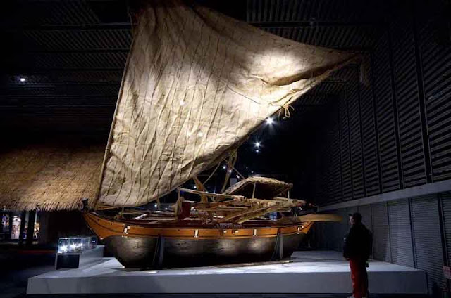 museum display of wooden sailing ship