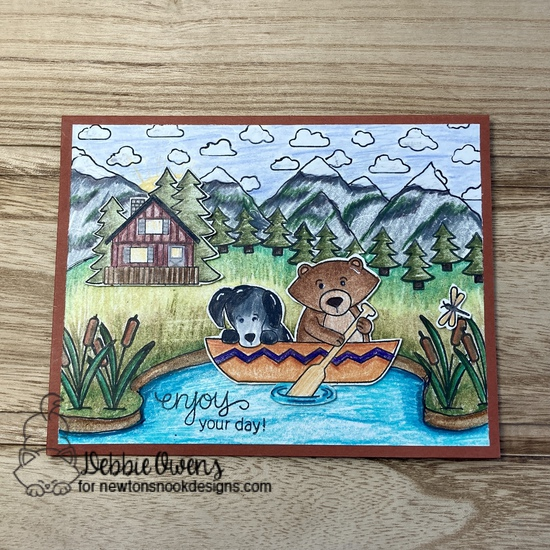 Enjoy your day by Debbie features Winston's Lake House, Mountains, Petite Clouds, and Snow Globe Scenes by Newton's Nook Designs; #inkypaws, #newtonsnook, #outdoorcards, #cardmaking