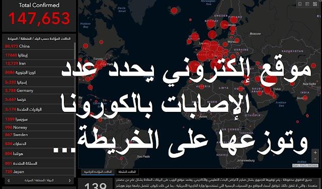 موقع إلكتروني يحدد عدد الإصابات بالكورونا وتوزعها على الخريطة في كل ثانية ..رحاب للمعلومات