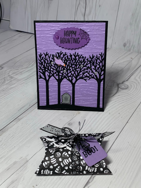 Halloween Pillowbox using Banner Year Stamp Set and matching a card using Inspiring Canopy Dies from Stampin' Up!