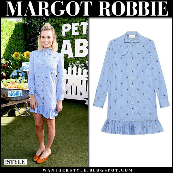 Margot Robbie in light blue mini shirt dress gucci spring party fashion february 2
