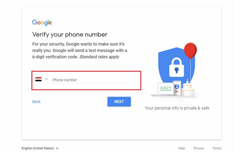 عدم ادخال رقم هاتف أثناء التسجيل في الجيميل