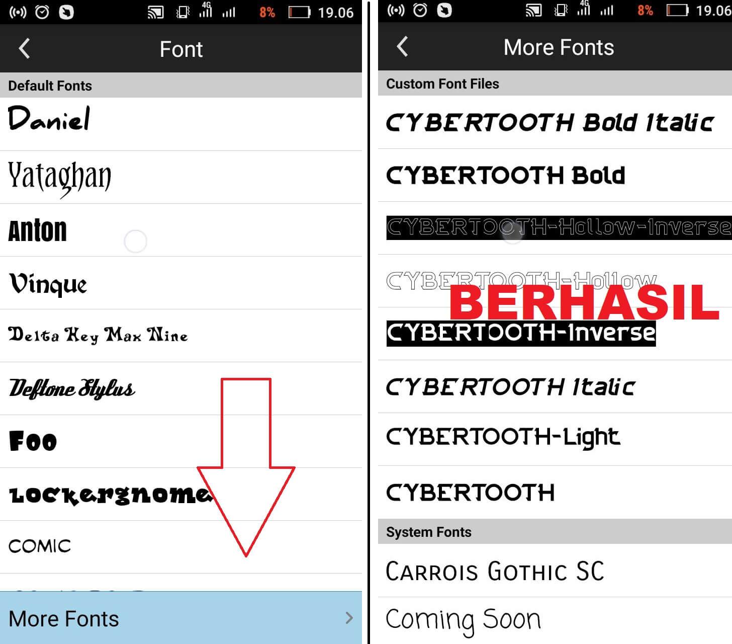 cara mengubah font picsay pro