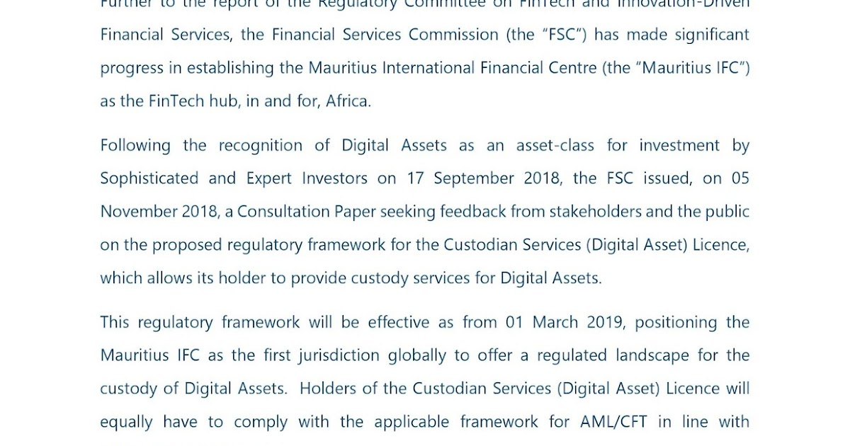 Amar: Mauritius: FSC Communiqué in relation to the