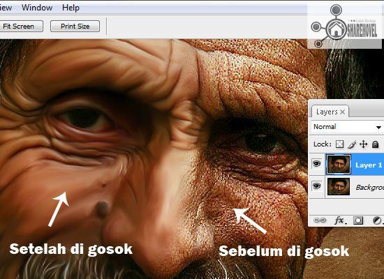 sebelum dan sesudah gambar di gosok menggunakan smudge tool - tutorial cara membuat efek smudge painting di photoshop