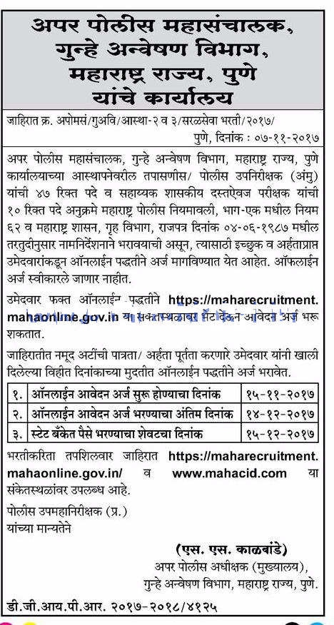 Pune Police Recruitment 2018 Apply for 47 SI Assistant Bharti Form