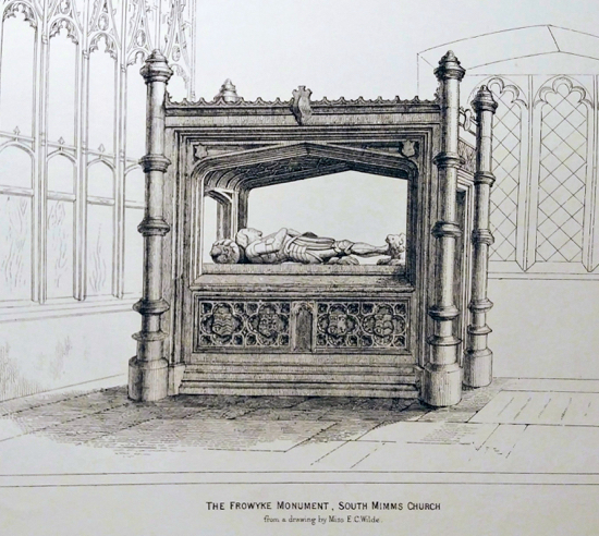 A drawing of Thomas Frowyck's Tomb by Miss E C Wilde from the book 'South Mimms' by Cass Photograph of drawing by David Brewer, released under Creative Commons BY-NC-SA 4.0