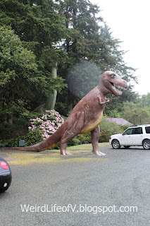 Tyrannosaurus Rex statue greets visitors at Prehistoric Gardens