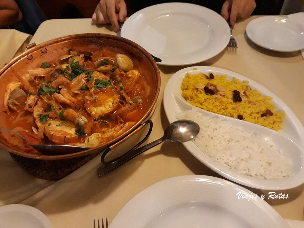 Comida de un restaurante de Nazaré