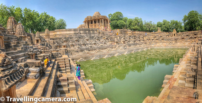 The Sun temple complex in Modhera is built in Chaulukya style. The temple complex has three components - the shrine  garbhagriha in a hall called gudhamandapa, the outer assembly hall sabhamandapa and a sacred reservoir with water in it.    Above photograph shows Sabhamandapa on the top and water reservoir in the front. Gudhamandapa is in the back side of the temple you see on the top.