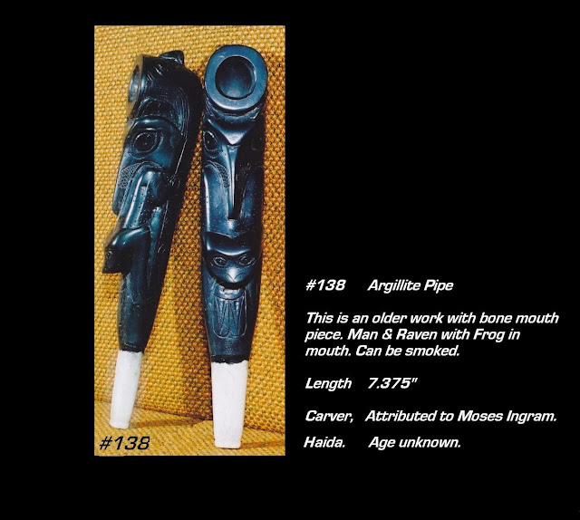 Argillite pipe Haida carving raven