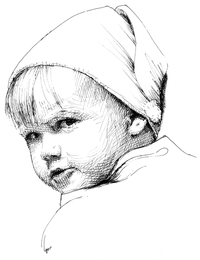 Kozak kid, ink portrait