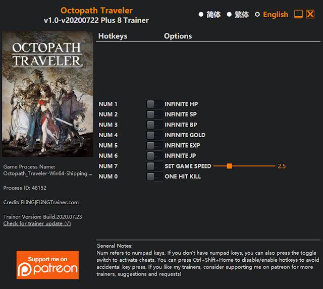 Tampilan Trainer Octopath Traveler PC