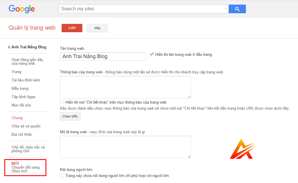 Chuyển đổi các trang web được tạo bằng Google Sites cũ sang Google Sites mới