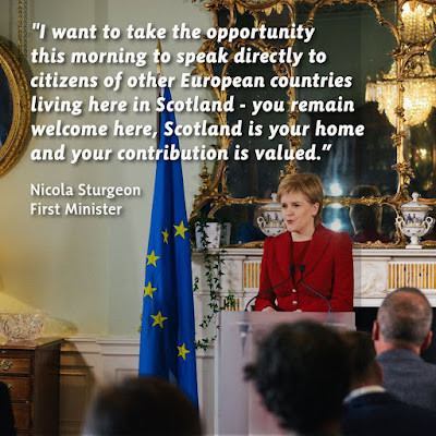 Nicola Sturgeon, FM of Scotland reassuring EU nationals that they are welcome and that their contribution is valued.