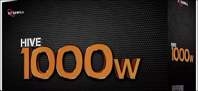 Una caja negra con 1000W escrito en letras doradas.