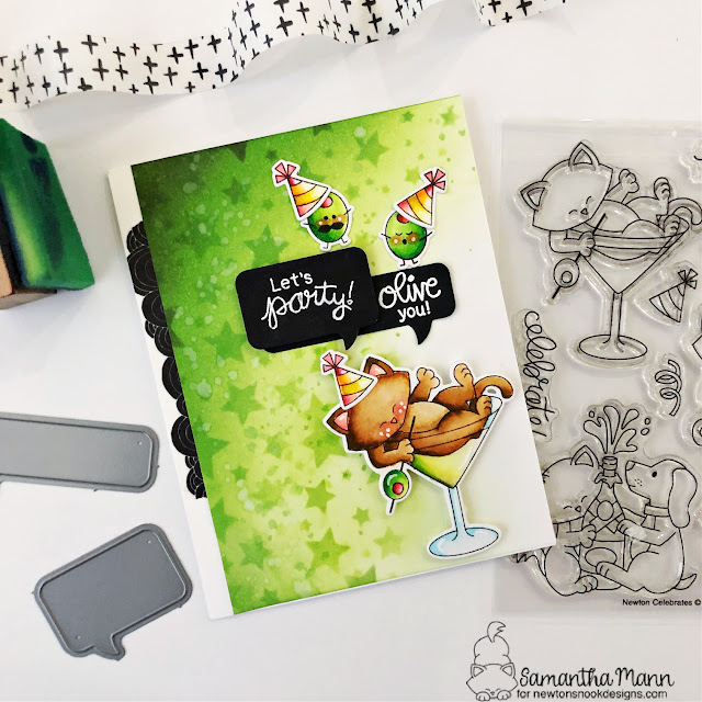 Olive You Card by Samantha Mann | Newton Celebrates and Love Bites Stamp Sets, Cascading Stars Stencil and Speech Bubbles Die Set by Newton's Nook Designs #newtonsnook