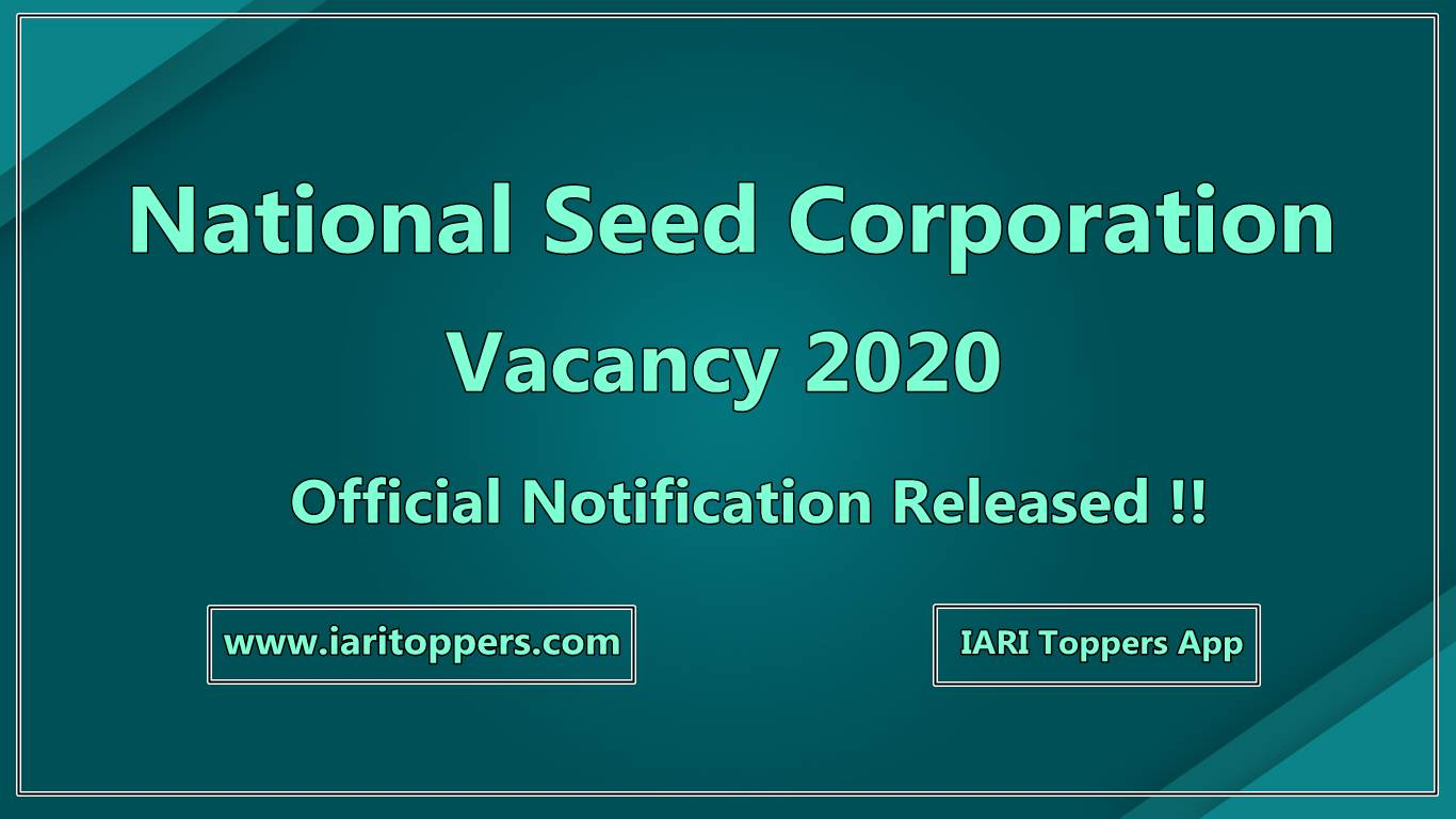 National Seed Corporation - NSC Vacacy 2020, latest agriculture jobs,nsc vacancy 2020