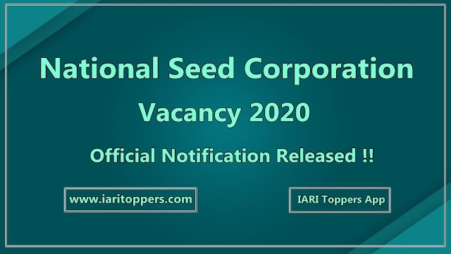 National Seed Corporation - NSC Vacacy 2020 - Download Official Notification
