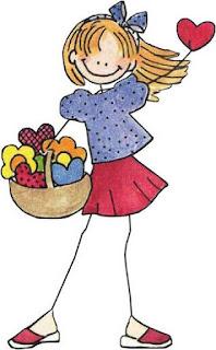 dibujo niña con cesto de corazones y flores