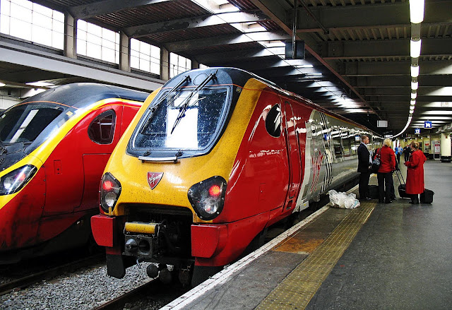 trains on platform in London
