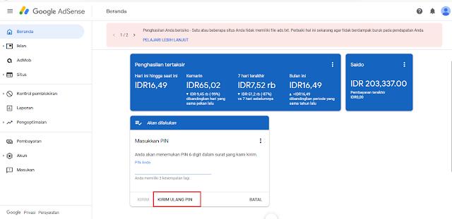 Cara Mudah Kirim Ulang PIN Google Adsense