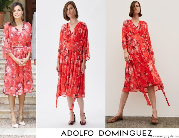 Queen Letizia wore Adolfo Domínguez Floral Print Dress from FW2018 Collection