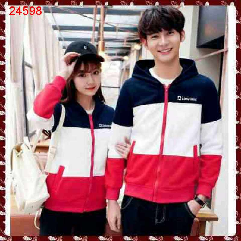 Jual Jacket Couple Jaket Converse 3 Tone Navy - 24598