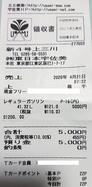 (株)東日本宇佐美 新4号上三川SS 2020/4/21 のレシート
