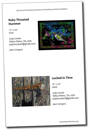 ISSA catalog page with two exhibition scratchboards by Judy Lavoie