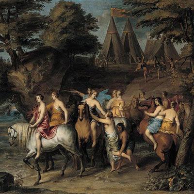 """Il dipinto """"Cloelia e le sue compagne scappano dagli Etruschi"""" è di Frans Wouters (1612-1659)"""