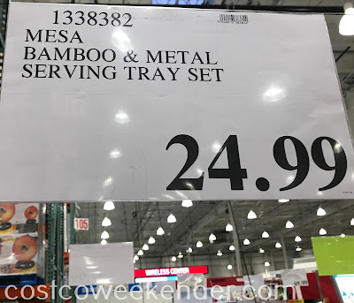Deal for the Mesa Bamboo and Metal Tray Set at Costco