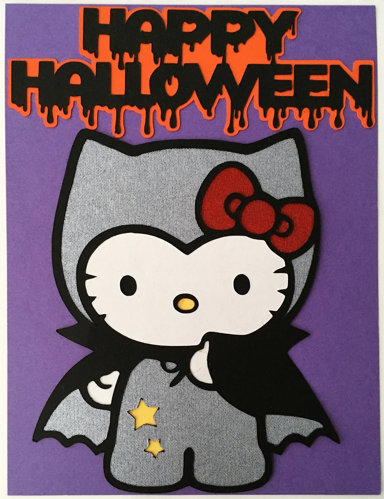 scrap-ali ever after: hello kitty HALLOWEEN CARD set - black