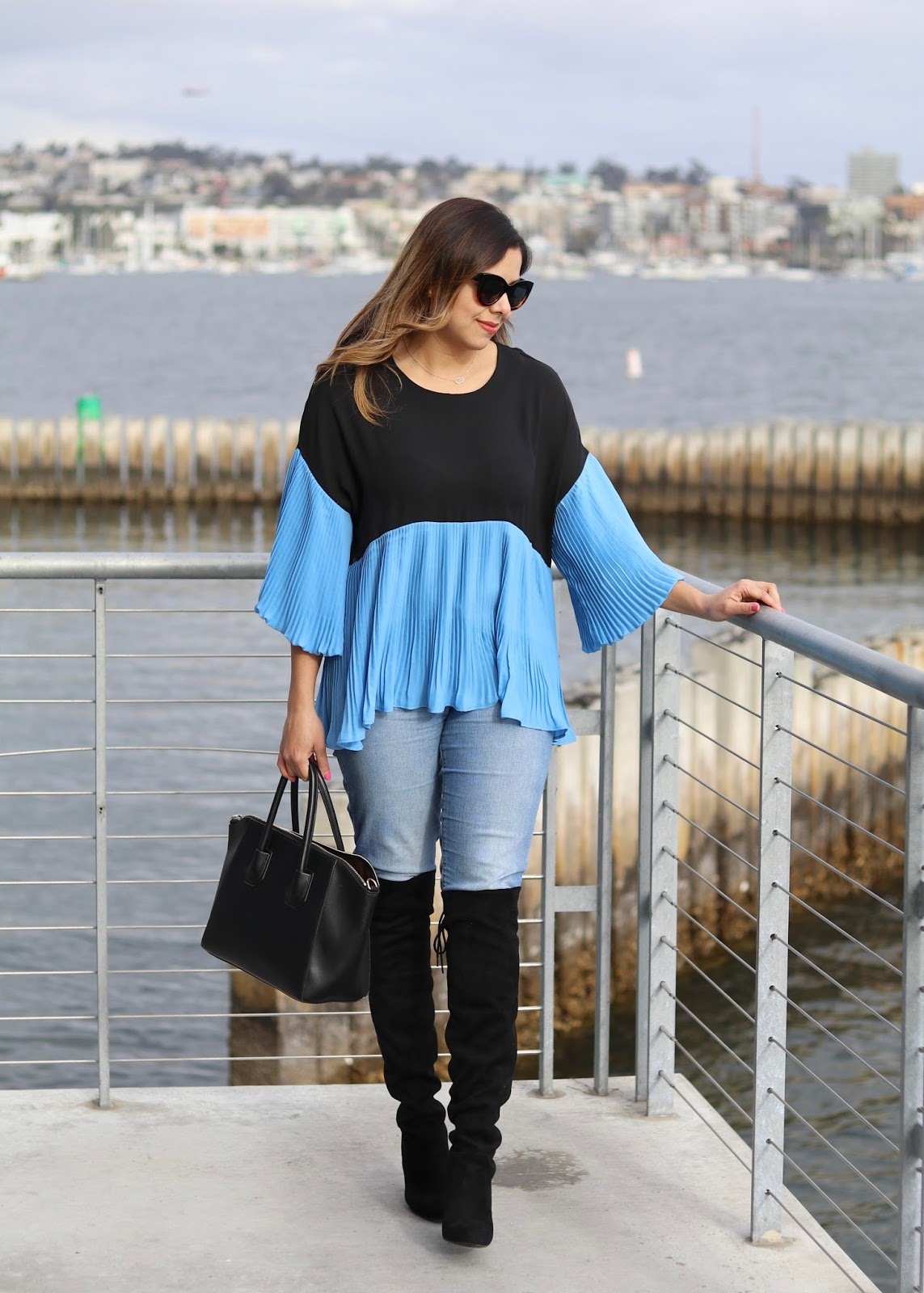Belle Sleeved Top, colorblocked Belle Sleeved Top, san diego fashion blogger
