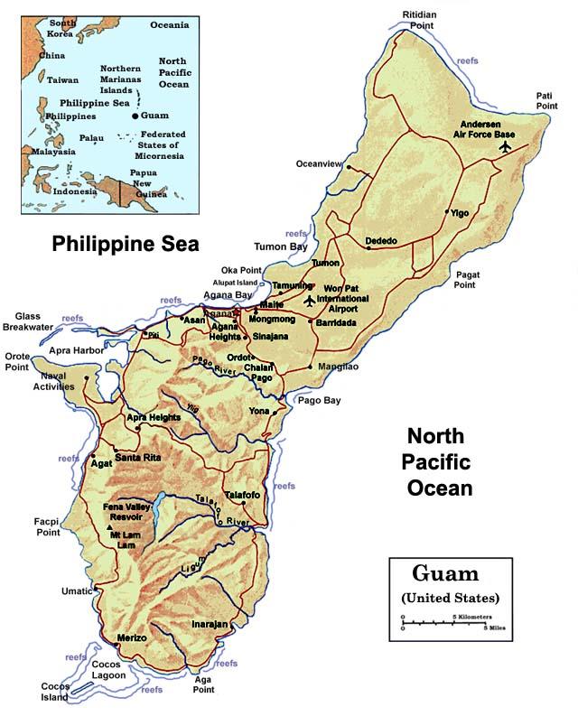 Mapas de Guam | Território dos Estado Unidos da América