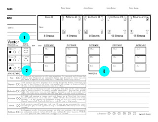 A picture of the old Alter Arms character sheet where the label 'Vectors' has a '1' next to it, the label 'Archetypes' has a '2' next to it, and the label 'Powers' has a '3' next to it.