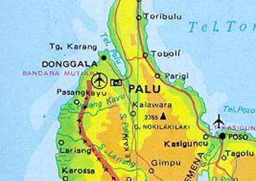 Gambar Peta letak Donggala