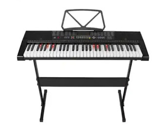 61 key portable electronic keyboard piano with stand,stool,mic,wire headphone buy o nline