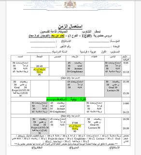 نماذج استعمال الزمن ابتدائي وفق النمطين الحضوري وبالتناوب 2020/2021