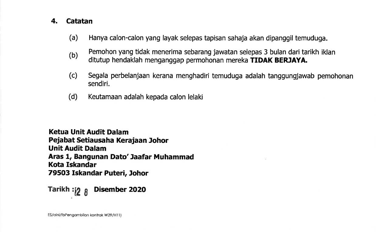 Jawatan Kosong di Pejabat Setiausaha Kerajaan Negeri Johor ...