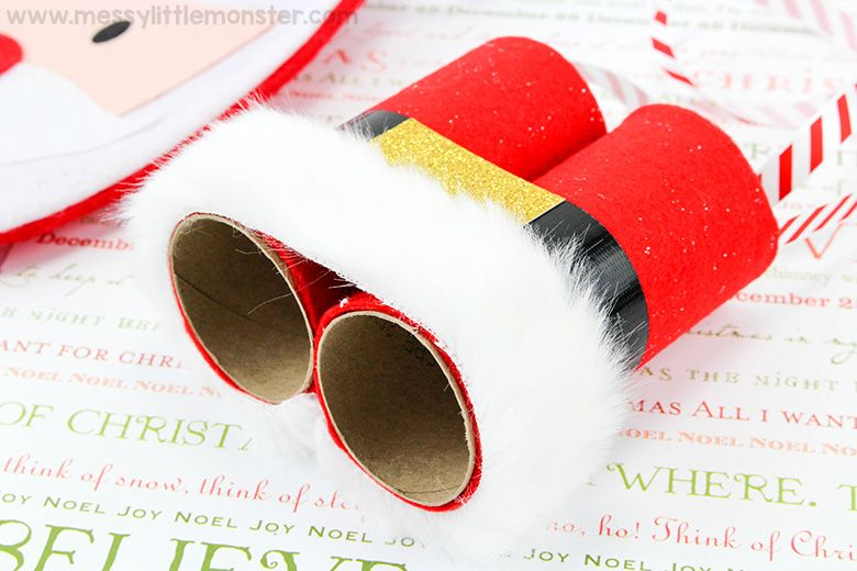 Santa binoculars Christmas craft for toddlers and preschoolers