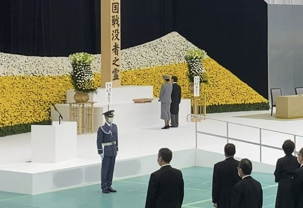 Emperor Naruhito and Empress Masako, attended a memorial ceremony marking the 75th anniversary of Japan's surrender in World War II