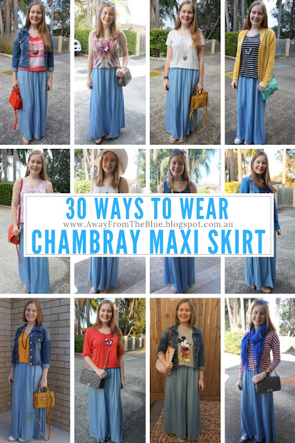 30 ways to wear a chambray maxi skirt AwayFromTheBlue blog pinable image