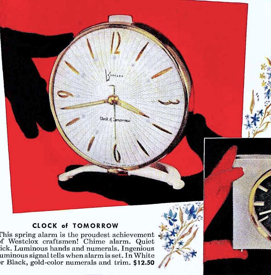 a 1956 hand model holding a Westclox clock